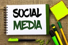 Text sign showing Social Media. Conceptual photo Communication Chat Online Messaging Share Community Societal written on Notebook. Text sign showing Social Media Royalty Free Stock Photography