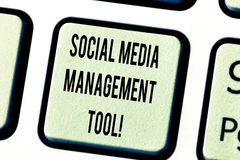 Text sign showing Social Media Management Tool. Conceptual photo Application for analysisage your online networks. Keyboard key Intention to create computer stock photos