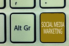 Text sign showing Social Media Marketing. Conceptual photo use of Website and Network to promote Product Service.  royalty free stock photography