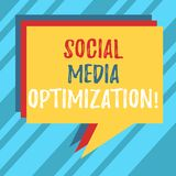 Text sign showing Social Media Optimization. Conceptual photo Digital strategy Generate viral publicity Stack of Speech Bubble. Different Color Blank Colorful vector illustration