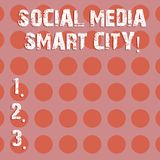 Text sign showing Social Media Smart City. Conceptual photo Connected technological advanced modern cities Circle photo. Two Tone Blank Copy Space Template for vector illustration