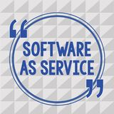Text sign showing Software As Service. Conceptual photo On Demand licensed on Subscription and centrally hosted.  royalty free illustration