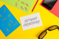 Text sign showing Software Engineering. Conceptual photo Program Development in Systematic Quantifiable approach Paper. Text sign showing Software Engineering stock photos