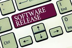 Text sign showing Software Release. Conceptual photo sum of stages of development and maturity for program.  royalty free stock images