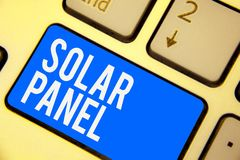 Text sign showing Solar Panel. Conceptual photo designed to absorb suns rays source of energy generating Keyboard blue key Intenti. On create computer computing stock photo