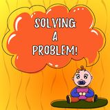 Text sign showing Solving A Problem. Conceptual photo include mathematical or systematic operation find solution Baby. Sitting on Rug with Pacifier Book and vector illustration