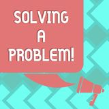 Text sign showing Solving A Problem. Conceptual photo include mathematical or systematic operation find solution Color. Silhouette of Blank Square Speech Bubble stock illustration
