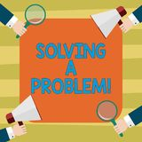 Text sign showing Solving A Problem. Conceptual photo include mathematical or systematic operation find solution Hu. Analysis Hands Each Holding Magnifying royalty free illustration