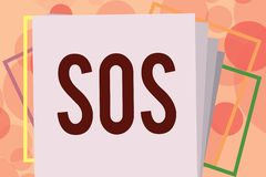 Text sign showing Sos. Conceptual photo Urgent appeal for help International code signal of extreme distress.  royalty free illustration