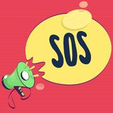 Text sign showing Sos. Conceptual photo Urgent appeal for help International code signal of extreme distress.  stock illustration