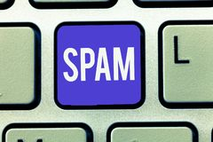 Text sign showing Spam. Conceptual photo Intrusive advertising Inappropriate messages sent on the Internet.  royalty free stock image