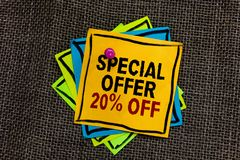 Text sign showing Special Offer 20 Off. Conceptual photo Discounts promotion Sales Retail Marketing Offer Black bordered different. Color sticky note stick royalty free stock image