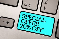 Text sign showing Special Offer 20 Off. Conceptual photo Discounts promotion Sales Retail Marketing Offer Silver grey computer key. Board with blue button black stock photos