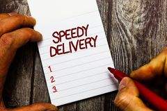 Text sign showing Speedy Delivery. Conceptual photo provide products in fast way or same day shipping overseas stock photos