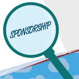 Text sign showing Sponsorship. Conceptual photo Position of being a sponsor Give financial support for activity.  royalty free illustration