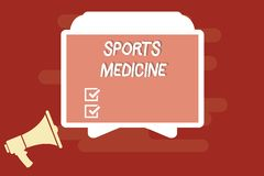 Text sign showing Sports Medicine. Conceptual photo Treatment and prevention of injuries related to sports stock illustration