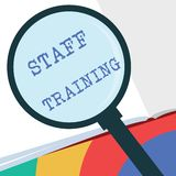 Text sign showing Staff Training. Conceptual photo A program that helps employees to learn specific knowledge.  Stock Illustration