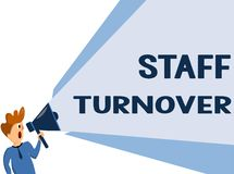 Text sign showing Staff Turnover. Conceptual photo The percentage of workers that replaced by new employees.  Royalty Free Illustration