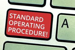 Text sign showing Standard Operating Procedure. Conceptual photo Detailed directions on how to perform a routine. Keyboard key Intention to create computer royalty free stock images