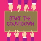 Text sign showing Start The Countdown. Conceptual photo Sequence of Backward Counting to Set the Timer stock illustration