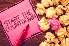 Text sign showing Start The Countdown. Conceptual photo Sequence of Backward Counting to Set the Timer stock photos