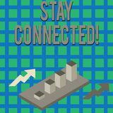 Text sign showing Stay Connected. Conceptual photo To keep communicating on each other To retain in touch Colorful. Text sign showing Stay Connected. Business stock illustration