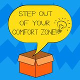 Text sign showing Step Out Of Your Comfort Zone. Conceptual photo Do different things leave the routine Idea icon Inside. Blank Halftone Speech Bubble Over an vector illustration