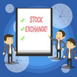 Text sign showing Stock Exchange. Conceptual photo the place where showing buy and sell stocks and shares. Text sign showing Stock Exchange. Business photo royalty free illustration