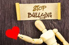 Text sign showing Stop Bullying. Conceptual photo Awareness Problem About Violence Abuse Bully Problem written on Sticky Note Love stock image