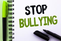 Text sign showing Stop Bullying. Conceptual photo Do not continue Abuse Harassment Aggression Assault Scaring written on Notebook. Text sign showing Stop Royalty Free Stock Image