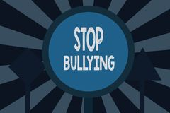 Text sign showing Stop Bullying. Conceptual photo Fight and Eliminate this Aggressive Unacceptable Behavior.  royalty free illustration