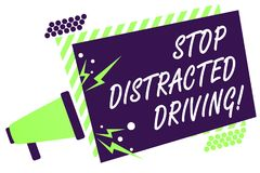 Text sign showing Stop Distracted Driving. Conceptual photo asking to be careful behind wheel drive slowly Megaphone loudspeaker g. Reen striped frame important Royalty Free Stock Photos