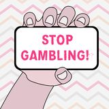 Text sign showing Stop Gambling. Conceptual photo stop the urge to gamble continuously despite harmful costs Closeup of. Text sign showing Stop Gambling stock illustration