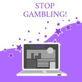Text sign showing Stop Gambling. Conceptual photo stop the urge to gamble continuously despite harmful costs Open Modern. Text sign showing Stop Gambling vector illustration