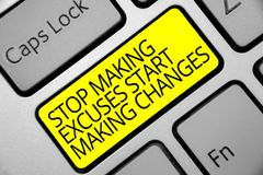 Text sign showing Stop Making Excuses Start Making Changes. Conceptual photo Do not give an excuse Act instead Keyboard yellow key. Intention create computer royalty free stock photo