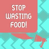 Text sign showing Stop Wasting Food. Conceptual photo organization works for reduction food waste in society Color. Silhouette of Blank Square Speech Bubble and royalty free illustration