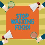Text sign showing Stop Wasting Food. Conceptual photo organization works for reduction food waste in society Hu analysis. Hands Each Holding Magnifying Glass stock illustration