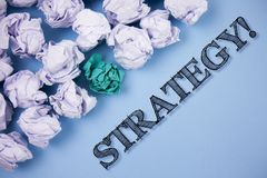 Text sign showing Strategy Motivational Call. Conceptual photo Group of ideas planned to achieve success written on the Plain Blue. Text sign showing Strategy Stock Photography