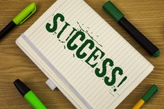 Text sign showing Success Motivational Call. Conceptual photo Achievement Accomplishment of some purpose written on Notebook Book. Text sign showing Success Royalty Free Stock Image