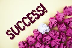 Text sign showing Success Motivational Call. Conceptual photo Achievement Accomplishment of some purpose written on Plain backgrou. Text sign showing Success Royalty Free Stock Photography