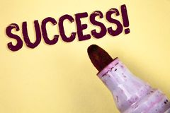 Text sign showing Success Motivational Call. Conceptual photo Achievement Accomplishment of some purpose written on Plain backgrou. Text sign showing Success Royalty Free Stock Photos