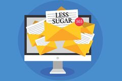 Text sign showing Less Sugar. Conceptual photo Lower volume of sweetness in any food or drink that we eat Computer receiving email vector illustration