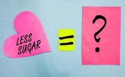Text sign showing Less Sugar. Conceptual photo Lower volume of sweetness in any food or drink that we eat Pink paper notes heart e. Qual sign question mark Royalty Free Stock Image