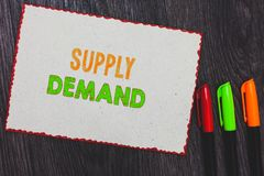 Text sign showing Supply Demand. Conceptual photo Relationship between the amounts available and wanted White paper red borders co. Lorful markers wooden royalty free stock photography