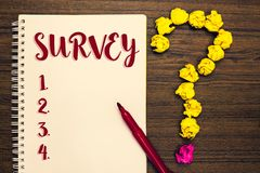Text sign showing Survey. Conceptual photo Questioning group of people to gather opinion on a particular subject Notepad paperwork. Marker pen ask idea pure stock photo