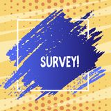 Text sign showing Survey. Conceptual photo Questioning group of showing to gather opinion on a particular subject Blue. Text sign showing Survey. Business photo stock illustration