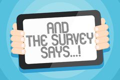 Text sign showing And The Survey Says. Conceptual photo written spoken results of short quiz or exam on internet Color