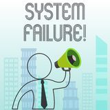 Text sign showing System Failure. Conceptual photo Occur because of a hardware failure or a software issue. Text sign showing System Failure. Business photo vector illustration