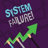 Text sign showing System Failure. Conceptual photo Occur because of a hardware failure or a software issue Three Hands. Text sign showing System Failure stock illustration