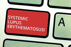 Text sign showing Systemic Lupus Erythematosus. Conceptual photo immune system of the body attack healthy tissue. Keyboard key Intention to create computer royalty free stock image